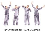 woman in pajama in a row... | Shutterstock . vector #675023986
