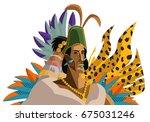 great aztec emperor | Shutterstock .eps vector #675031246