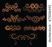 golden luxury vintage frames... | Shutterstock .eps vector #675036442