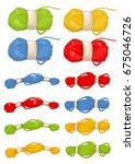yarn  thread  knitting  weaving ... | Shutterstock .eps vector #675046726
