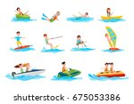 deep dive  sport canoeing  ride ... | Shutterstock .eps vector #675053386