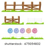 simple wooden fence with green... | Shutterstock .eps vector #675054832