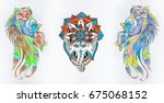 set of sketches of an elephant... | Shutterstock . vector #675068152