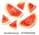 slices of watermelon isolated... | Shutterstock . vector #675069658