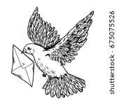 Postal Dove With Letter Raster...