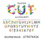 colorful alphabet with abstract ... | Shutterstock .eps vector #675076426