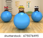 Stock photo funny cats are doing exercise with stability ball fitness club 675076495