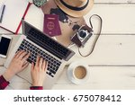 travel planning concept on map | Shutterstock . vector #675078412