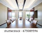 interior of modern meeting room | Shutterstock . vector #675089596