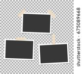 photo frame with sticky tape on ... | Shutterstock .eps vector #675089668