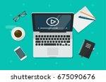 video on laptop illustration ... | Shutterstock . vector #675090676