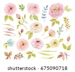 painted watercolor set of... | Shutterstock . vector #675090718