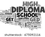 which is best ged or diploma... | Shutterstock .eps vector #675092116