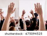 raised hands and arms of large... | Shutterstock . vector #675094525