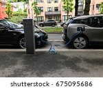 electric car charging station... | Shutterstock . vector #675095686