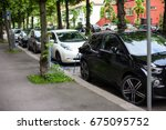 electric car charging station... | Shutterstock . vector #675095752