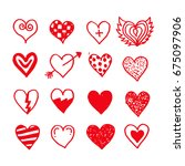 hand draw hearts icon | Shutterstock .eps vector #675097906