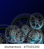 drawing gears on a dark blue... | Shutterstock . vector #675101242