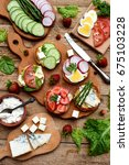 set of healthy whole wheat... | Shutterstock . vector #675103228