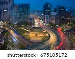 seoul. image of seoul downtown... | Shutterstock . vector #675105172