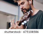 the guitarist is playing        ... | Shutterstock . vector #675108586
