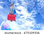 tourist woman traveling and... | Shutterstock . vector #675109336