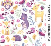 seamless pattern with cute... | Shutterstock .eps vector #675110152
