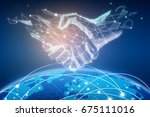 abstract polygonal handshake... | Shutterstock . vector #675111016