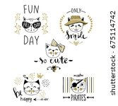 vector card series with cute... | Shutterstock .eps vector #675114742