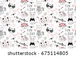 Stock vector vector fashion cat seamless pattern cute kitten illustration in sketch style cartoon animals 675114805