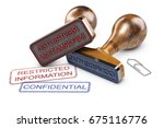 two rubber stamps over white...   Shutterstock . vector #675116776