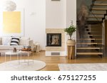 white and wooden design of...   Shutterstock . vector #675127255