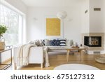 white sofa with pillows and... | Shutterstock . vector #675127312