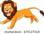 cartoon happy lion running | Shutterstock .eps vector #675127318