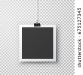 hanging photo frame with paper... | Shutterstock .eps vector #675127345