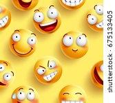 smileys wallpaper seamless... | Shutterstock .eps vector #675133405