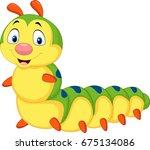 cartoon caterpillar isolated on ... | Shutterstock .eps vector #675134086