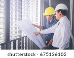 contractor and engineer with... | Shutterstock . vector #675136102