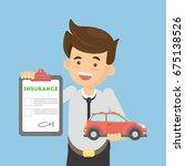 man shows car insurance. | Shutterstock . vector #675138526