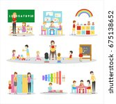 isolated kindergarten set. | Shutterstock . vector #675138652