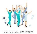 doctors jump in joy. | Shutterstock . vector #675139426