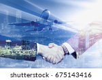 partners agreed by handshake on ... | Shutterstock . vector #675143416