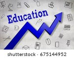close up of education text ... | Shutterstock . vector #675144952