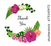 tropical wreath with flowers ... | Shutterstock .eps vector #675145972