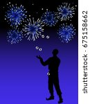silhouette of juggler and blue... | Shutterstock .eps vector #675158662