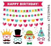 birthday party photo booth... | Shutterstock .eps vector #675159496