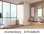 wooden bathroom interior with a ... | Shutterstock . vector #675168625