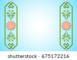 rosemaling background with...   Shutterstock .eps vector #675172216