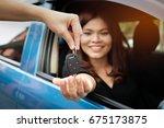 asian women get car keys from...   Shutterstock . vector #675173875