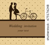 invitation card with newlyweds... | Shutterstock .eps vector #675176248
